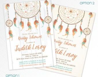 Dreamcatcher baby shower printable invitation, teal boho shower invitation, orange bohemian digital invitation, feathers invitation