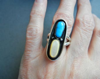 Vintage navajo turquoise ring, navajo turquoise mother of pearl ring, navajo multi-stone ring, native sterling ring, mexican sterling ring