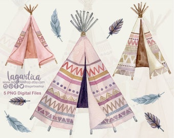 Teepee, Tipi Native American Watercolor clipart, Hand Painted, PNG, digital art, bridal shower, for blog banner