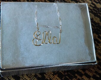 """ELLA  or ANY  name made for you in Sterling silver Square Wire on 18"""" chain free shippping, tween gift, teen gift,"""