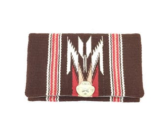 Vintage Chimayo Granscraft Wool Clutch, Silver Pottery Closure, Handcrafted Southwestern Boho Purse, Bohemian Style Bag, Vintage Fashion