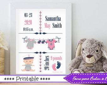 Digital wall art- Personalized Birth Stats art - nursery art - Nautical nursery art - 8x10 - Digital Printable