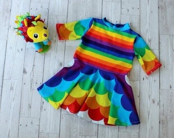 Twirly Skirt Dress.....Rainbow Waves