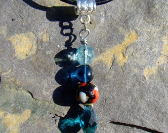 Blue and Black Drop Necklace
