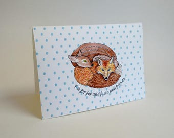 Blank Greeting Card - F is for Fox and Fawn and Friends - Handmade and printed from original ink and gouache illustration