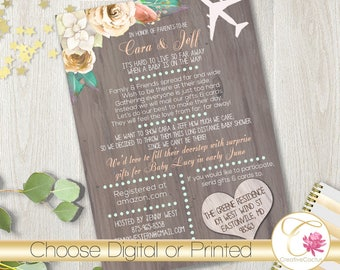 Long Distance Neutral Baby or Bridal Shower Invitation PRINTABLE! Peaches Cream Mint Coral Shabby Chic! Rustic Wood Boho Country Roses