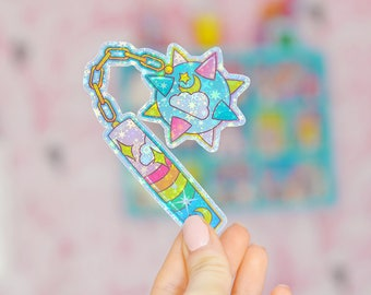 Magical Girl Mace, Ball and Chain, Sailor Moon Style Weapon Holographic Sticker
