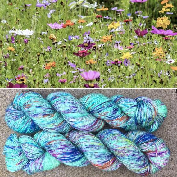 Summer Meadow Sparkle Sock, speckled flower indie dyed merino nylon floral yarn