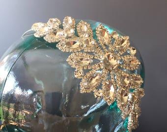 Crystal and diamante bridal headband - Art Deco hair band - brides hairband - bridesmaids headband. Race day fascinator.