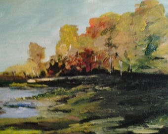 Fall By The Lake - Acrylic Landscape Painting On Canvas