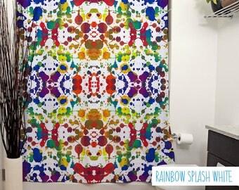 Rainbow Splash, Printed Shower Curtain, Rainbow, Modern Art, Bathroom Decor, Colorful, Rorschach, Paint Splatter