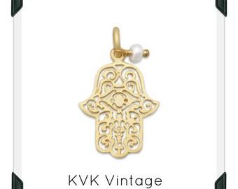 14 Karat Gold Plated Sterling Silver Hamsa Charm