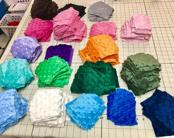 Minky Dot Color Sample Packs - small pieces of minky dot for appliqué