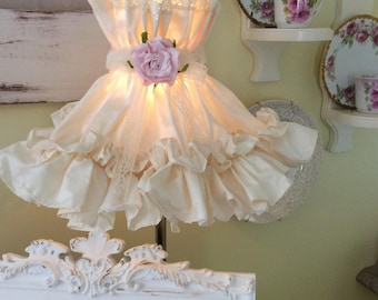RESERVERED for Tisha K Ivory Fabric Ruffled Shade with Pink Rose