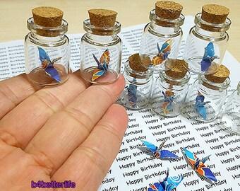 Lot of 10pcs 1-inch Hand-folded Paper Crane In Mini Glass Bottle With Cork. (WR paper series). #CIB10f.