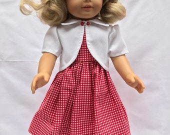 red and white dress and jacket for 18 in doll