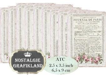 French Lace Ephemera printable Journals journaling Journal de Paris Documents Instant Download ATC digital collage sheet S083