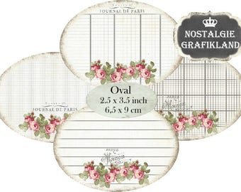 Ephemera Writing Labels digital printable French Paris Shabby Chic Ovals 3.5x2.5 inch Instant Download printable digital collage sheet O144