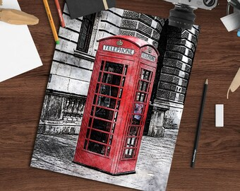 London print, red telephone box, pen and ink crosshatch + watercolor, 8x10 printable art download, London art print, digital wall decor
