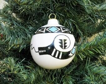 Hand-painted Southwestern Snake Serpent Ceramic Holiday Christmas Ball Desert Southwest Ornament #866C