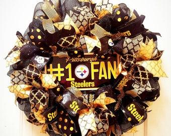 Pittsburgh Steelers Wreath, Steelers Mesh Wreath, Pittsburgh Wreath,