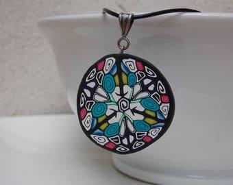 Blue White Black Kaleidoscope Pendant Necklace  - Handmade Polymer Clay Wearable Art