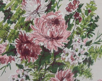 Waverly Bark Cloth Fabric Yardage - Beige Background w/Pink and Burgundy Peony Flower Design w/Ferns and Foilage Leaves - Vintage Bark Cloth