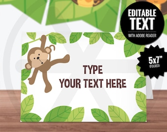 Safari Place Cards. Editable Table Signs. Buffet Tent Cards. Printable Food Cards. Jungle Monkey Baby Shower/Kids Birthday Party Table Decor