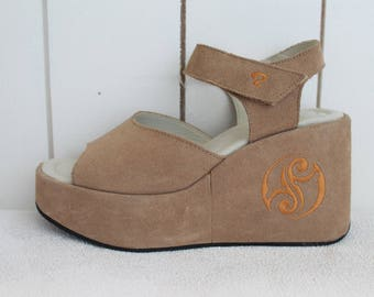 Beige Brown Vintage Platform Sandals Suede Leather Summer Shoes Open Toe Ankle Strap Chunky Size 38