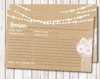 Recipe Recipe Card Editable PDF, Kraft Recipe Card, Shower Recipe Card, Peonies, Mason Jar Recipe Card, INSTANT DOWNLOAD 4x6 Printable