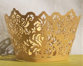 YELLOW GOLD Filigree Lace CUPCAKE Wrappers,Wraps,Liners,Birthday,Wedding,Party,Desert,Shimmer,Damask,Pincess,Crown,Liners and Cups,Baking