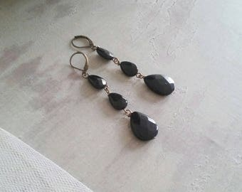 Pendant earrings with black agate drops