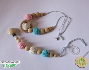 Set necklace and pacifier pink, white and blue