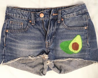Hand Embroidered Shorts // Avocado // Jean Shorts