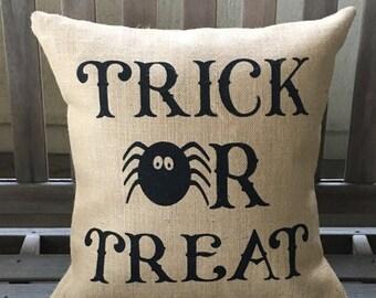 SALE Trick or Treat Burlap Halloween Pillow