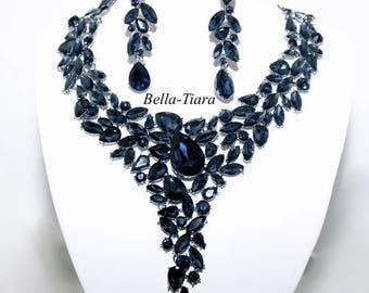 navy blue crystal statement necklace set, blue statement bridal jewelry, navy statement necklace set, navy blue necklace set