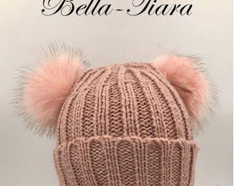 Beanie pom pom Hat, fur double pom pom hat, fur lined pom pom hat, double pom pom hat, knit beanie fur hat, pink pom pom hat