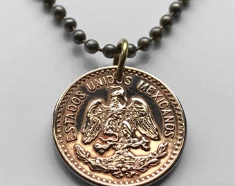 1940s Mexico 1 centavo coin pendant Mexican golden eagle águila Aztec serpent snake cactus hawk WWII Nahuas necklace n000495