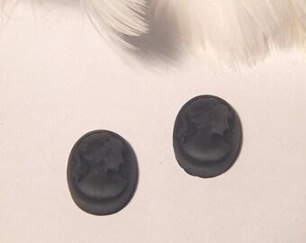 x 2 pattern black cameo woman bust resin 18 * 13 mm