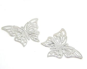 10 pendants form Butterfly filigree silver Butterfly //estame 46x35mm silver colored metal