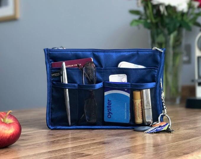 Luxury Purse ORGANIZER Insert, Purse Insert, Bag Organizer, Handbag Organizer, handbag organiser, Blue with paisley satin lining