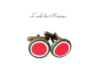 pair of cufflinks watermelon pattern