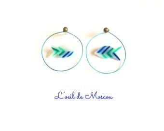 blue fish in its jar earrings