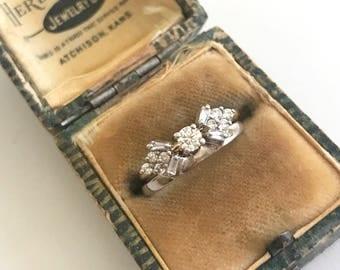 Sale//Vintage engagement set. Diamond engagement set. 1/2 Ct vintage wedding set.