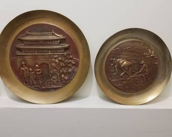 Brass Wall Plaques - Pair of Vintage Wall Hangings