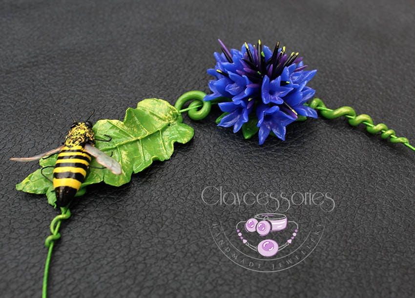 Cornflower necklace / Bee necklace / Floral necklace / Statement necklace / Choker necklace / Flowers necklace / Polymer clay necklace