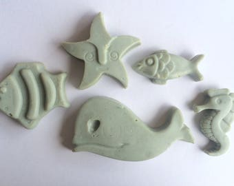 Handmade soap marino whale, Alice, fish, Star and seahorse with extra virgin olive oil, lavender and vanilla, rose.