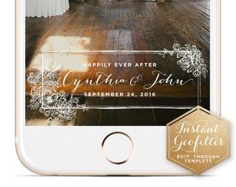 Illustrated Floral Wedding Snapchat Geofilter | Custom  Geofilter | Birthday  Geofilter | Bridal Shower Geofilter | Instant Geofilter