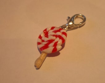Fancy Red Fimo polymer clay LOLLIPOP charm