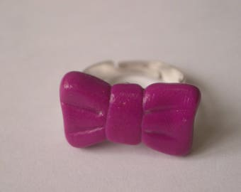 RING FIMO polymer clay purple bow